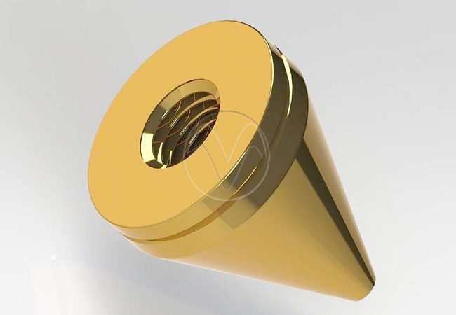 Brass and copper prototype with highly polished